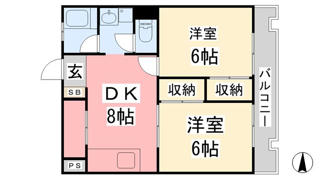物件番号: 1118804025 清香マンション 松山市北斎院町 2DK マンション 間取り図