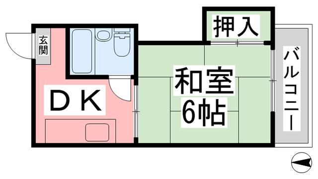 物件番号: 1118807619 コーポ福原 松山市土居田町 1K マンション 間取り図