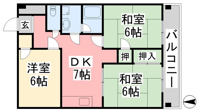 物件番号: 1118808768 コンフォート桜 6 松山市空港通6丁目 3DK マンション 間取り図