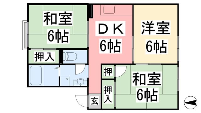 物件番号: 1118809537 ライブリーハイム ミーサ A棟 松山市余戸東1丁目 3DK アパート 間取り図