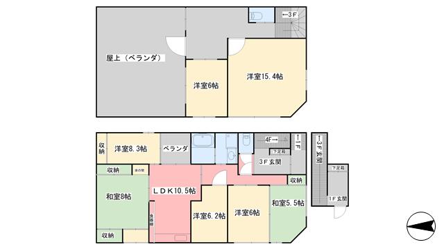 物件番号: 1118810418 吉岡ビル 松山市喜与町2丁目 8DK マンション 間取り図