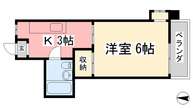 物件番号: 1118814747 メゾン北斗 松山市山越6丁目 1K マンション 間取り図