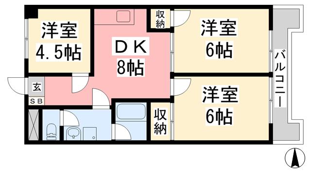物件番号: 1118814854 ウエストレジデンス大和 松山市山越4丁目 3DK マンション 間取り図