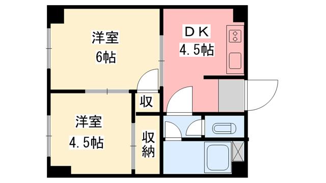 物件番号: 1118817357 平岡ビル 松山市中央2丁目 2DK マンション 間取り図