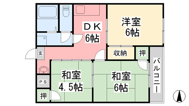 物件番号: 1118818034 コンフォート久万ノ台 松山市久万ノ台 3DK マンション 間取り図