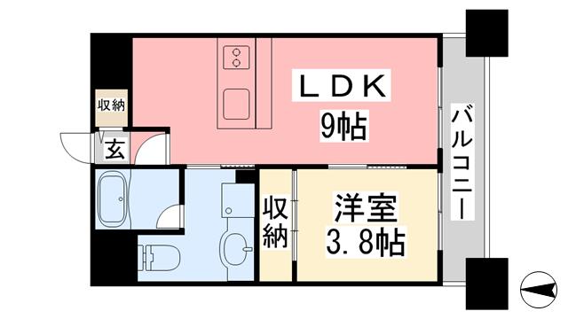 物件番号: 1118824317 ヴァレーレ県庁前 松山市二番町4丁目 1LDK マンション 間取り図