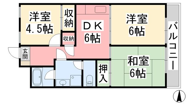 物件番号: 1118826690 ケミビル 松山市喜与町1丁目 3DK マンション 間取り図