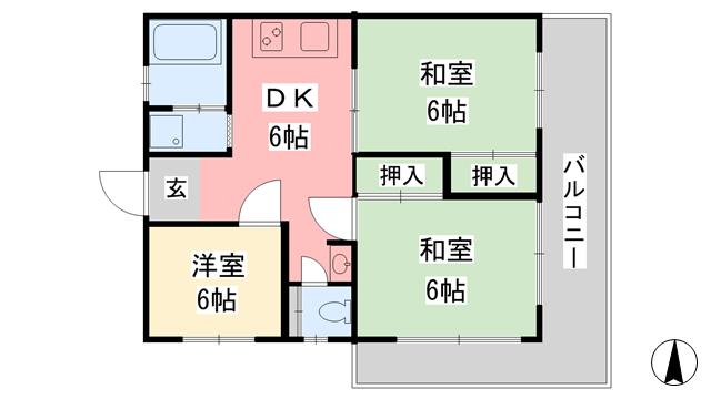 物件番号: 1118826961 カローラハイツ 松山市南江戸1丁目 3DK マンション 間取り図