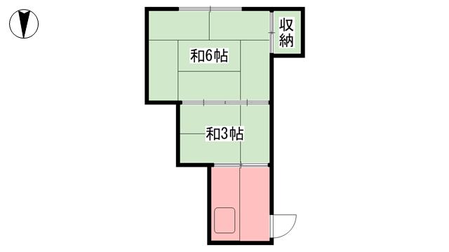 物件番号: 1118840755 熊野アパート 松山市竹原2丁目 1K アパート 間取り図