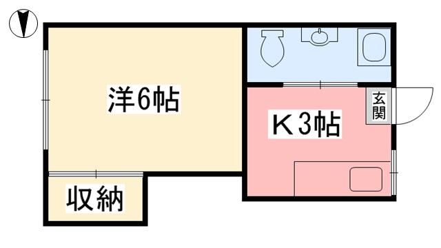 物件番号: 1118842769 コーポ旭 松山市旭町 1K アパート 間取り図