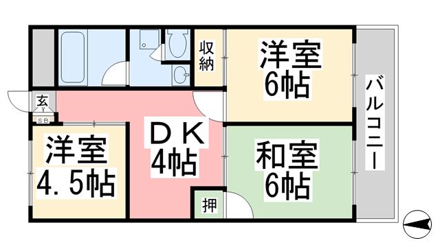 物件番号: 1118848324 ライブタウン中村 松山市中村4丁目 3DK マンション 間取り図