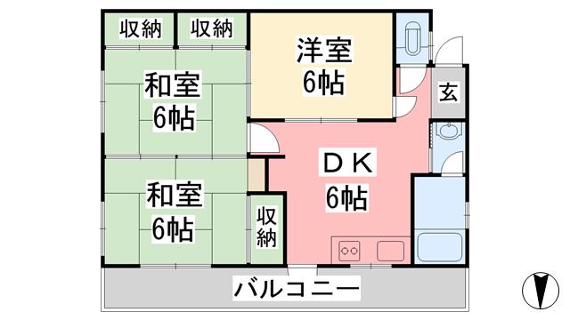 物件番号: 1118854209 大野マンション 松山市南久米町 2DK アパート 間取り図