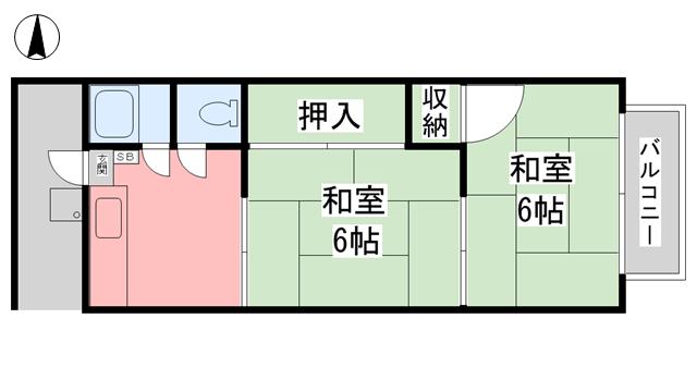 物件番号: 1118859015 コーポ得居 松山市土居田町 2K アパート 間取り図