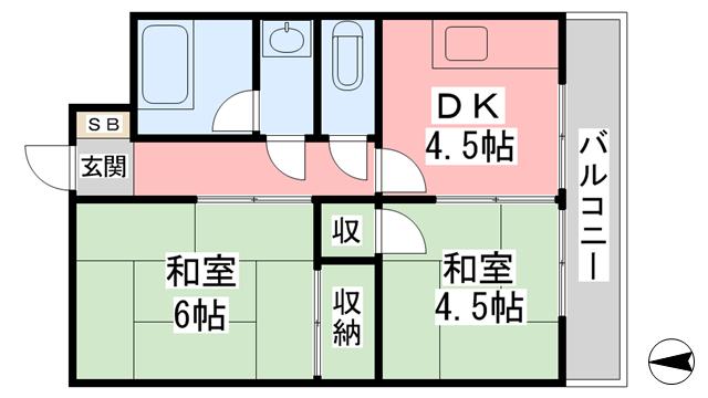物件番号: 1118864464 コーポ松一南 松山市土居田町 2DK アパート 間取り図