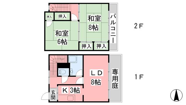 物件番号: 1118865542 関谷マンション 松山市南吉田町 2LDK アパート 間取り図