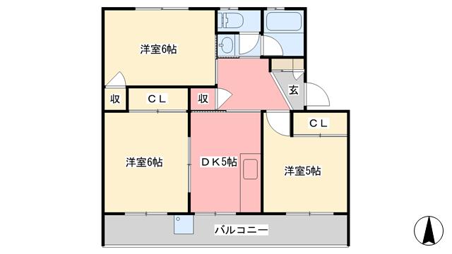 物件番号: 1118867975 まことハイツ 松山市土居田町 3DK マンション 間取り図