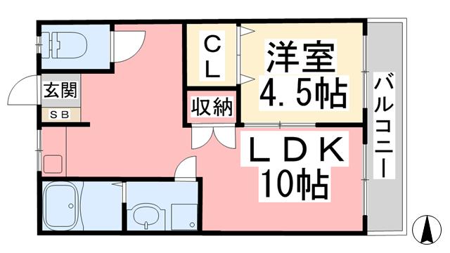 物件番号: 1118869534 パークサイド上田 松山市松江町 1LDK マンション 間取り図